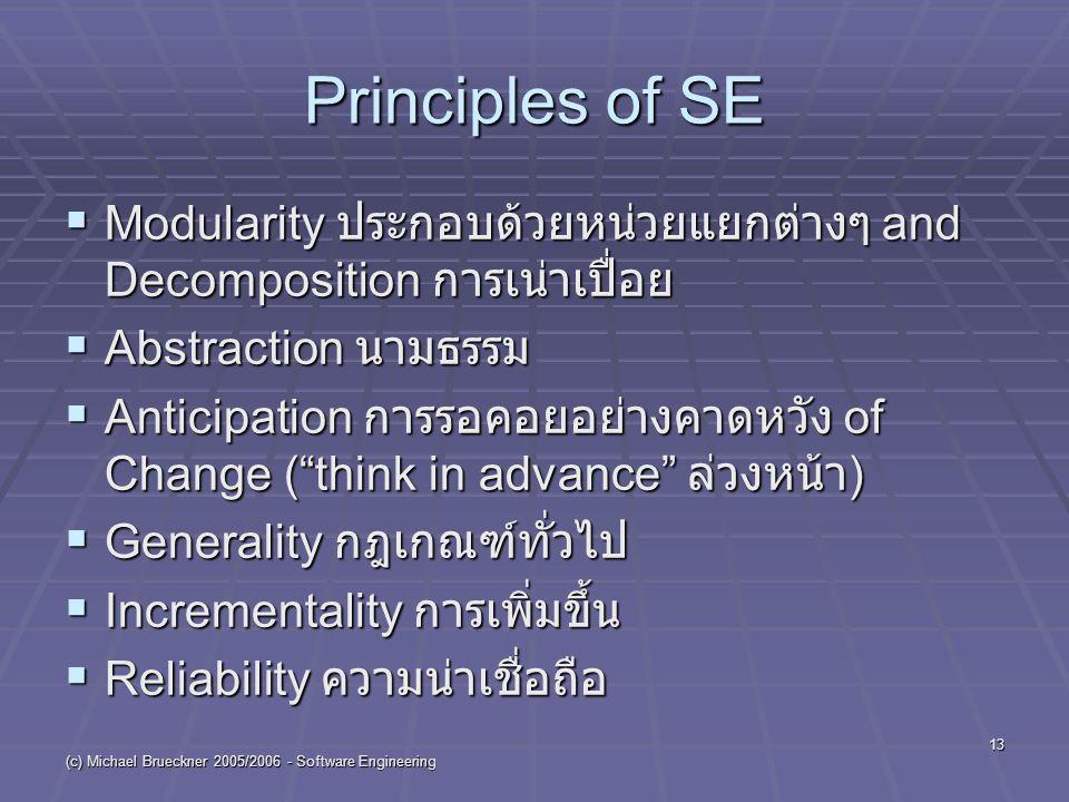 (c) Michael Brueckner 2005/2006 - Software Engineering 13 Principles of SE  Modularity ประกอบด้วยหน่วยแยกต่างๆ and Decomposition การเน่าเปื่อย  Abstraction นามธรรม  Anticipation การรอคอยอย่างคาดหวัง of Change ( think in advance ล่วงหน้า )  Generality กฎเกณฑ์ทั่วไป  Incrementality การเพิ่มขึ้น  Reliability ความน่าเชื่อถือ