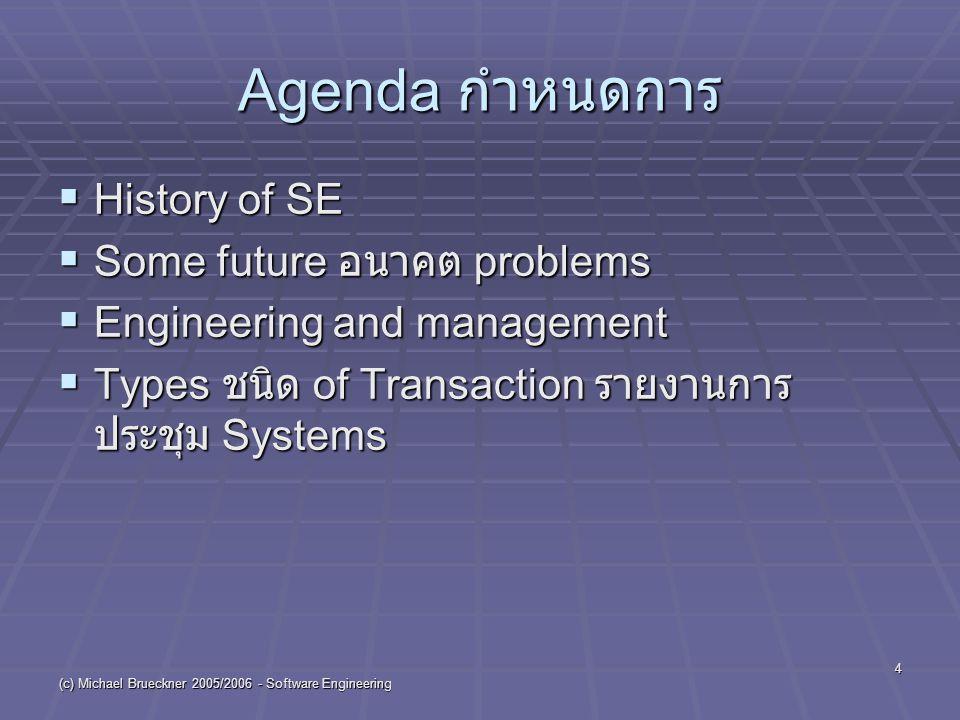 "(c) Michael Brueckner 2005/2006 - Software Engineering 5 History of SE-1  1968 NATO องค์การนาโต้ ( คำย่อ North Atlantic Treaty Organization) Conference discussed ""Software Crisis ช่วงที่มีปัญหา ร้ายแรง  Over ( มากกว่า )-budget, late, and operationally ที่สามารถใช้งานได้ failed ล้มเหลว software projects."