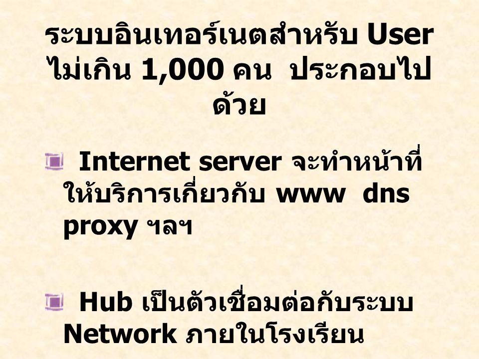 ระบบอินเทอร์เนตสำหรับ User ไม่เกิน 1,000 คน ประกอบไป ด้วย Internet server จะทำหน้าที่ ให้บริการเกี่ยวกับ www dns proxy ฯลฯ Hub เป็นตัวเชื่อมต่อกับระบบ