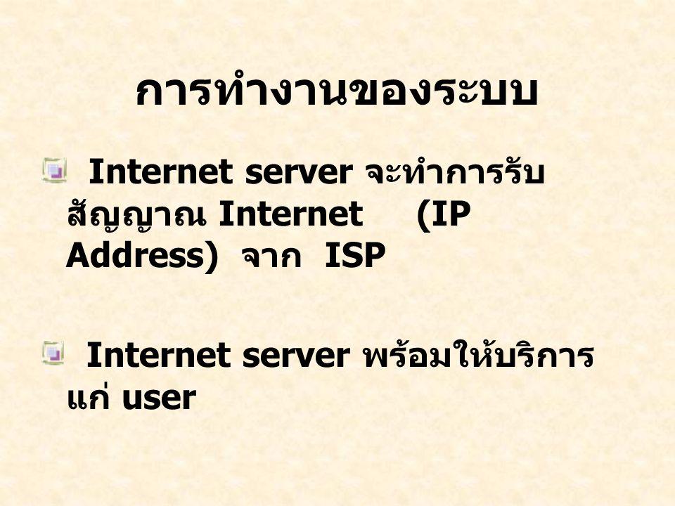 การทำงานของระบบ Internet server จะทำการรับ สัญญาณ Internet (IP Address) จาก ISP Internet server พร้อมให้บริการ แก่ user