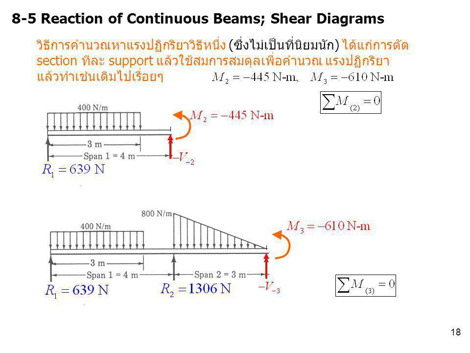 18 8-5 Reaction of Continuous Beams; Shear Diagrams วิธีการคำนวณหาแรงปฏิกริยาวิธีหนึ่ง (ซึ่งไม่เป็นที่นิยมนัก) ได้แก่การตัด section ทีละ support แล้วใ