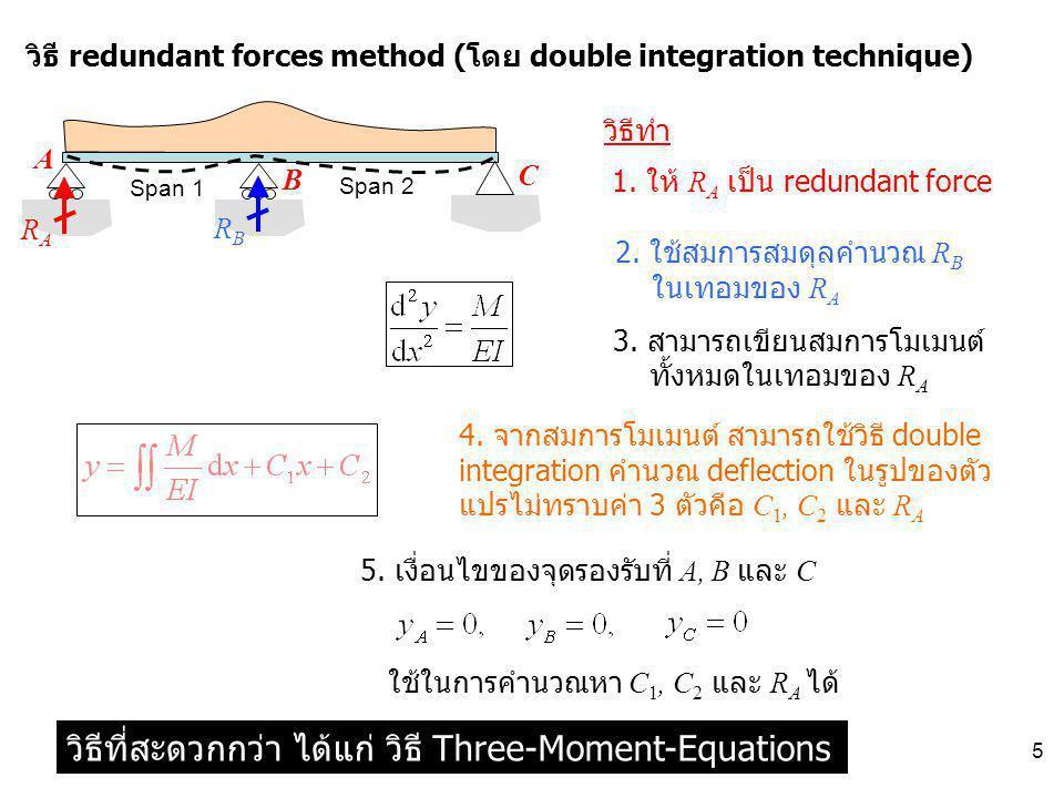 5 Span 1 Span 2 วิธี redundant forces method (โดย double integration technique) A B C 1. ให้ R A เป็น redundant force วิธีทำ RARA 2. ใช้สมการสมดุลคำนว