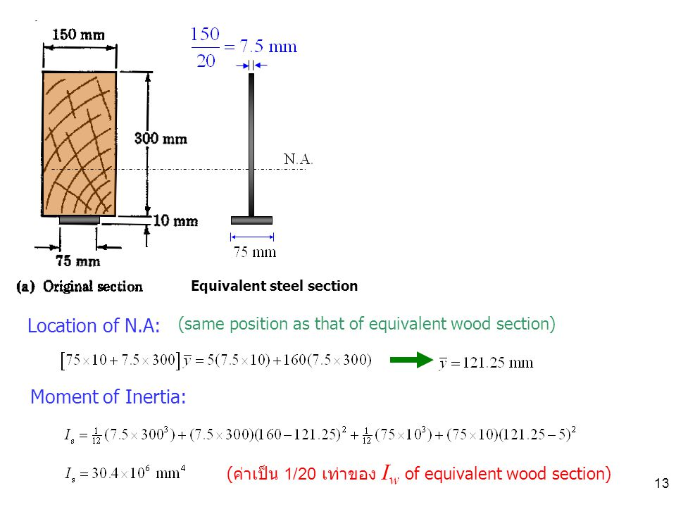 13 Location of N.A: Equivalent steel section Moment of Inertia: ( ค่าเป็น 1/20 เท่าของ I w of equivalent wood section) (same position as that of equivalent wood section)