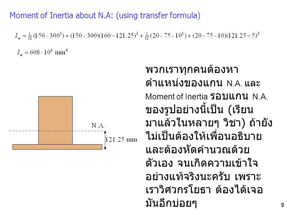 9 Moment of Inertia about N.A: (using transfer formula) พวกเราทุกคนต้องหา ตำแหน่งของแกน N.A. และ Moment of Inertia รอบแกน N.A. ของรูปอย่างนี้เป็น ( เร