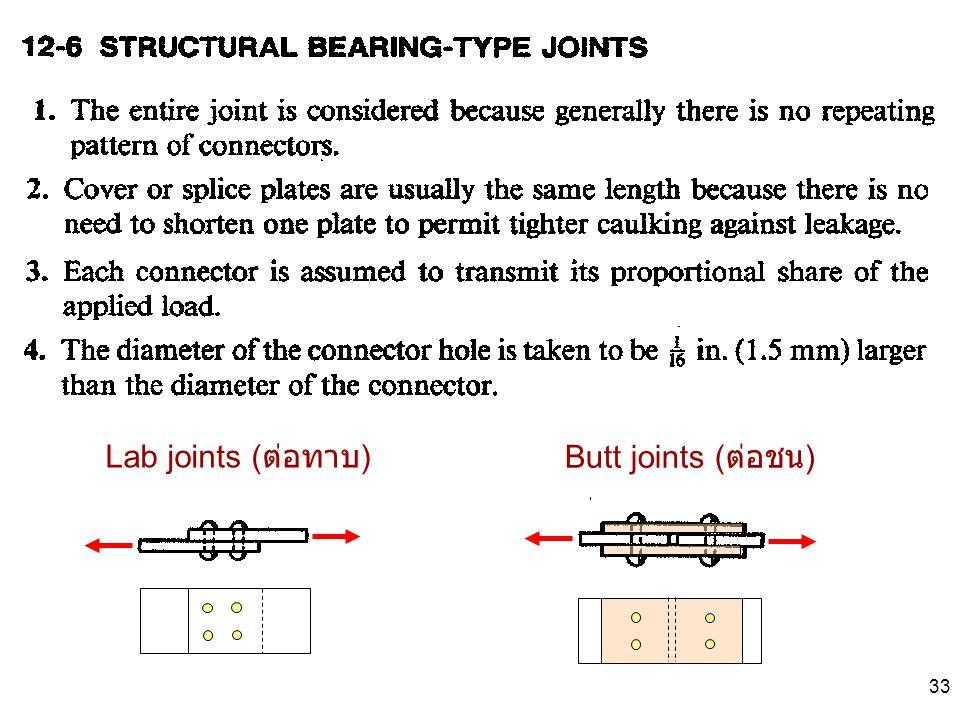 33 Lab joints ( ต่อทาบ ) Butt joints ( ต่อชน )