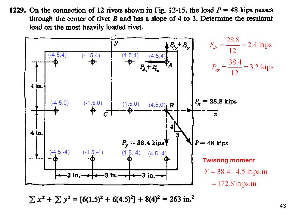 43 (1.5,4) (1.5,0) (1.5,-4) (4.5,4) (-4.5,0) (-4.5,4) (-4.5,-4) (4.5,0) (4.5,-4) (-1.5,0) (-1.5,4) (-1.5,-4) Twisting moment