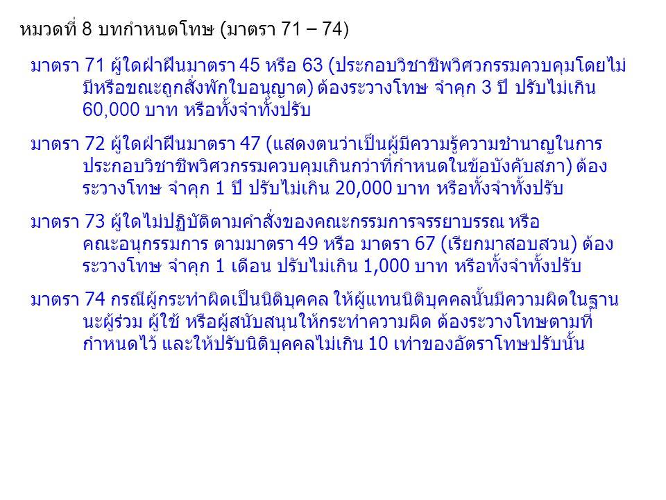 หมวดที่ 8 บทกำหนดโทษ ( มาตรา 71 – 74) มาตรา 71 ผู้ใดฝ่าฝืนมาตรา 45 หรือ 63 ( ประกอบวิชาชีพวิศวกรรมควบคุมโดยไม่ มีหรือขณะถูกสั่งพักใบอนุญาต ) ต้องระวาง