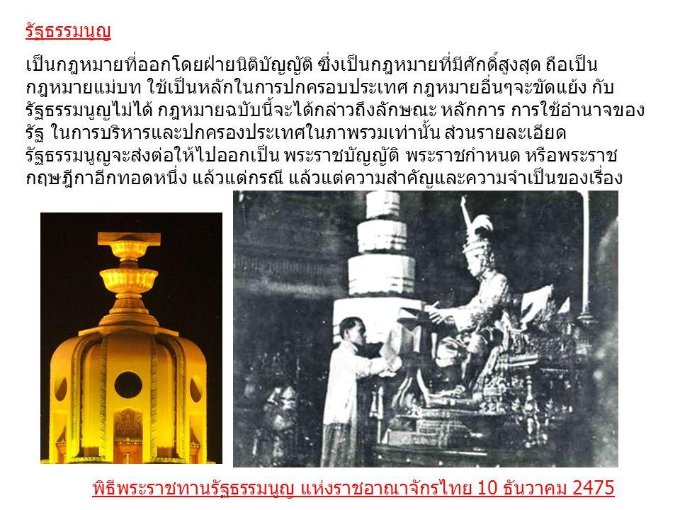 พระราชบัญญัติประกอบรัฐธรรมนูญ เป็นกฎหมายประกอบรัฐธรรมนูญที่ตราขึ้นในรูปแบบพระราชบัญญัติ ซึ่งรัฐธรรมนูญ แห่งราชอาณาจักรไทยได้บัญญัติให้มีขึ้นอีกรูปแบบหนึ่งในระบบบทกฎหมายไทย เพื่อกำหนดรายละเอียดซึ่งเป็นกฎเกณฑ์สำคัญเพิ่มเติมบทบัญญัติแห่งรัฐธรรมนูญฯ บางมาตราที่บัญญัติหลักการไว้อย่างกว้าง ๆ ในเรื่องใดเรื่องหนึ่ง ให้มีความกระจ่าง แจ้ง ชัดเจนและสมบูรณ์ยิ่งขึ้น โดยไม่ต้องบัญญัติไว้ในตัวบทแห่งรัฐธรรมนูญให้มี ความยาวมากเกินไป และเพื่อที่จะได้สะดวกแก่การแก้ไขเพิ่มเติม โดยไม่ต้อง ดำเนินการตามวิธีการแก้ไขเพิ่มเติมรัฐธรรมนูญที่ทำได้ยากกว่าการแก้ไขเพิ่มเติม พระราชบัญญัติ