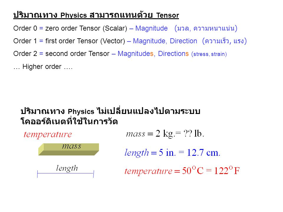ปริมาณทาง Physics สามารถแทนด้วย Tensor Order 0 = zero order Tensor (Scalar) – Magnitude ( มวล, ความหนาแน่น ) Order 1 = first order Tensor (Vector) – M
