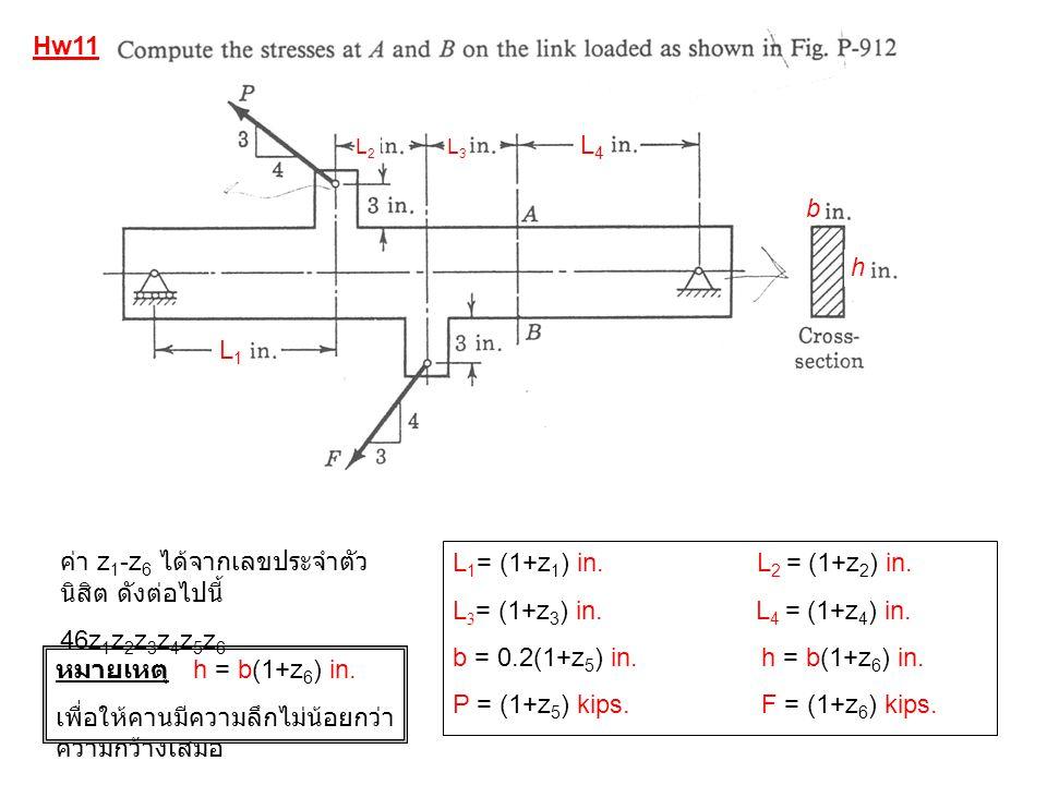 Hw11 L1L1 L2L2 L3L3 L4L4 b h L 1 = (1+z 1 ) in. L 2 = (1+z 2 ) in. L 3 = (1+z 3 ) in. L 4 = (1+z 4 ) in. b = 0.2(1+z 5 ) in. h = b(1+z 6 ) in. P = (1+