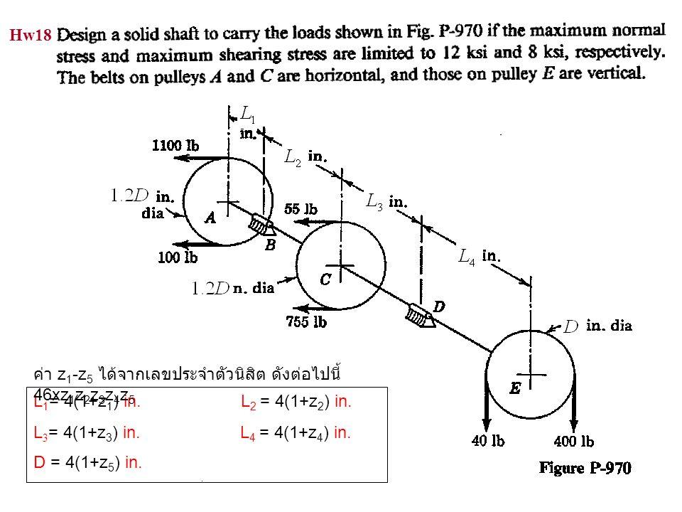Hw18 L 1 = 4(1+z 1 ) in. L 2 = 4(1+z 2 ) in. L 3 = 4(1+z 3 ) in. L 4 = 4(1+z 4 ) in. D = 4(1+z 5 ) in. ค่า z 1 -z 5 ได้จากเลขประจำตัวนิสิต ดังต่อไปนี้