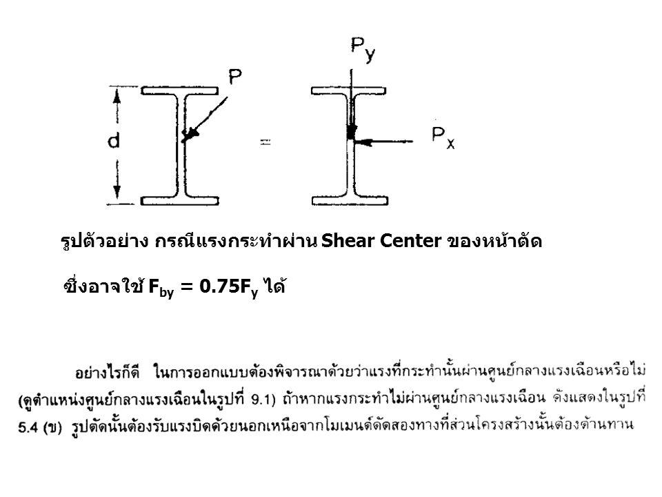 รูปตัวอย่าง กรณีแรงกระทำผ่าน Shear Center ของหน้าตัด ซึ่งอาจใช้ F by = 0.75F y ได้