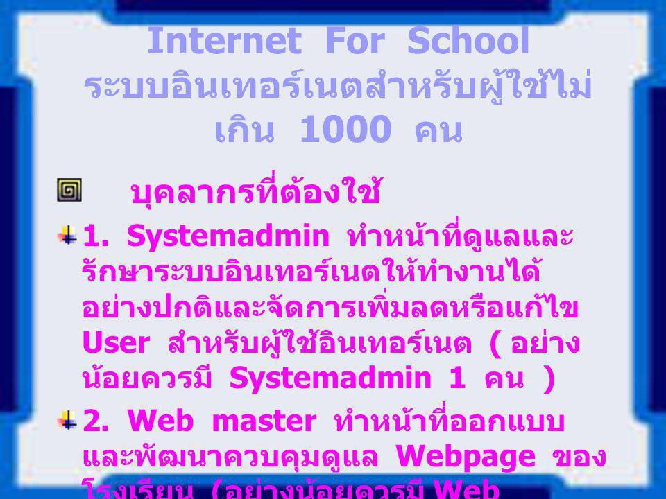 Internet For School ระบบอินเทอร์เนตสำหรับผู้ใช้ไม่ เกิน 1000 คน บุคลากรที่ต้องใช้ 1. Systemadmin ทำหน้าที่ดูแลและ รักษาระบบอินเทอร์เนตให้ทำงานได้ อย่า