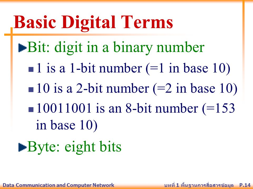 P.14Data Communication and Computer Network บทที่ 1 พื้นฐานการสื่อสารข้อมูล Basic Digital Terms Bit: digit in a binary number 1 is a 1-bit number (=1