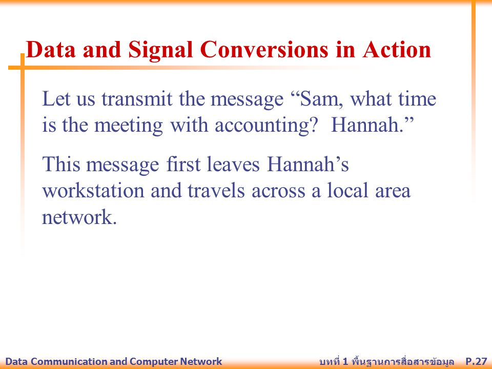 "P.27Data Communication and Computer Network บทที่ 1 พื้นฐานการสื่อสารข้อมูล Let us transmit the message ""Sam, what time is the meeting with accounting"