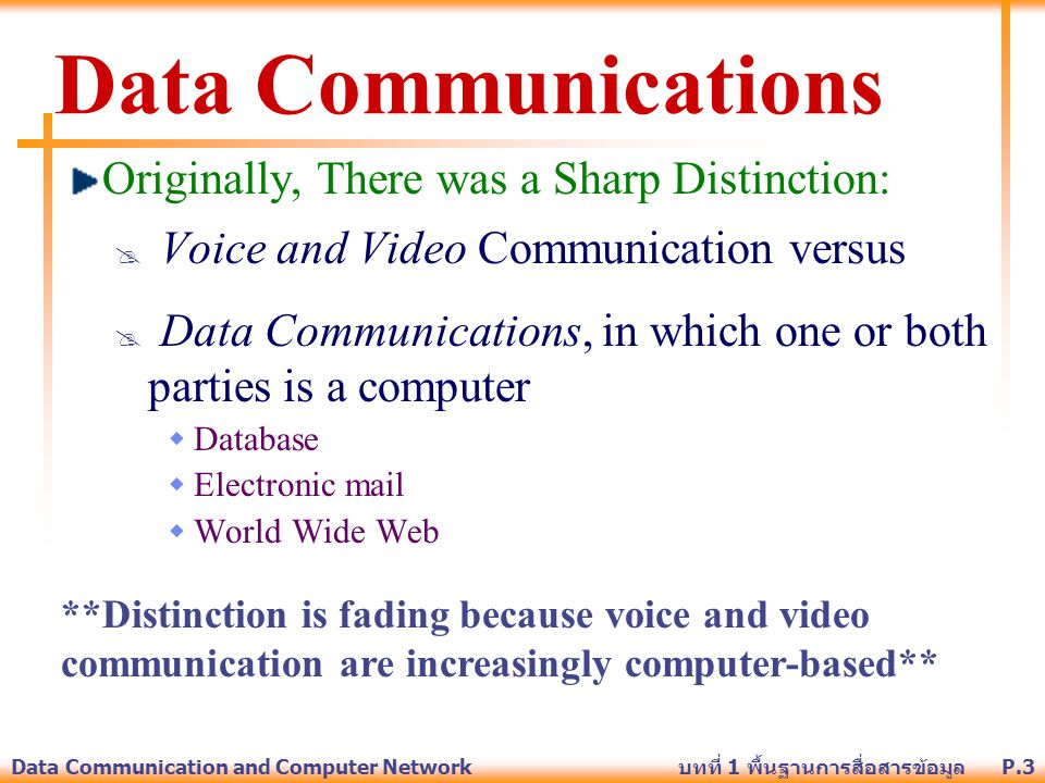 P.3Data Communication and Computer Network บทที่ 1 พื้นฐานการสื่อสารข้อมูล Data Communications Originally, There was a Sharp Distinction:  Voice and