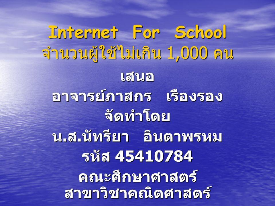 Internet For School จำนวนผู้ใช้ไม่เกิน 1,000 คน เสนอ อาจารย์ภาสกร เรืองรอง จัดทำโดย น. ส. นัทรียา อินตาพรหม รหัส 45410784 คณะศึกษาศาสตร์ สาขาวิชาคณิตศ