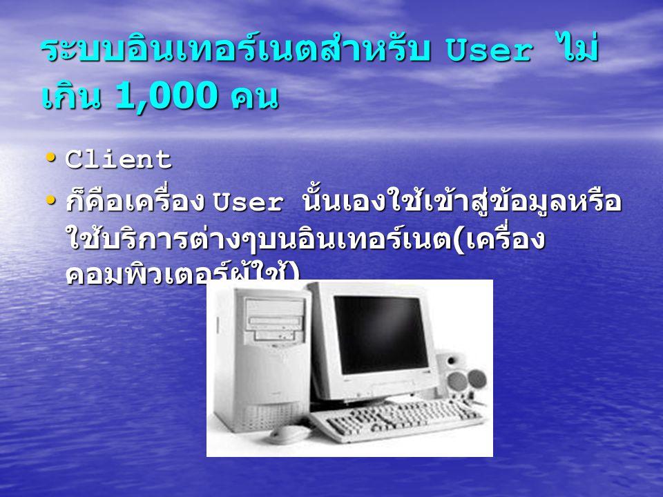 ระบบอินเทอร์เนตสำหรับ User ไม่ เกิน 1,000 คน Client Client ก็คือเครื่อง User นั้นเองใช้เข้าสู่ข้อมูลหรือ ใช้บริการต่างๆบนอินเทอร์เนต ( เครื่อง คอมพิวเ