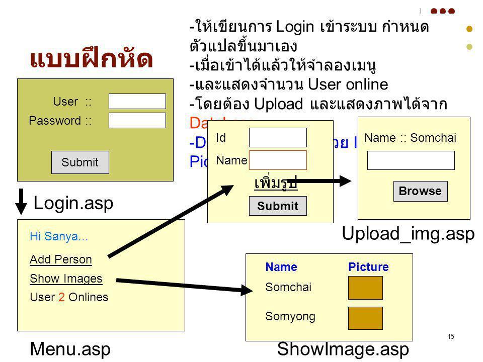 15 แบบฝึกหัด Submit User :: Password :: Login.asp Hi Sanya... Add Person Show Images User 2 Onlines Menu.asp - ให้เขียนการ Login เข้าระบบ กำหนด ตัวแปล