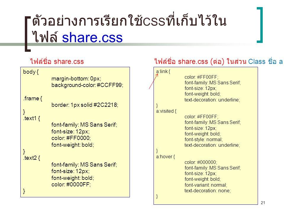 21 ตัวอย่างการเรียกใช้ CSS ที่เก็บไว้ใน ไฟล์ share.css body { margin-bottom: 0px; background-color: #CCFF99;.frame { border: 1px solid #2C2218; }.text