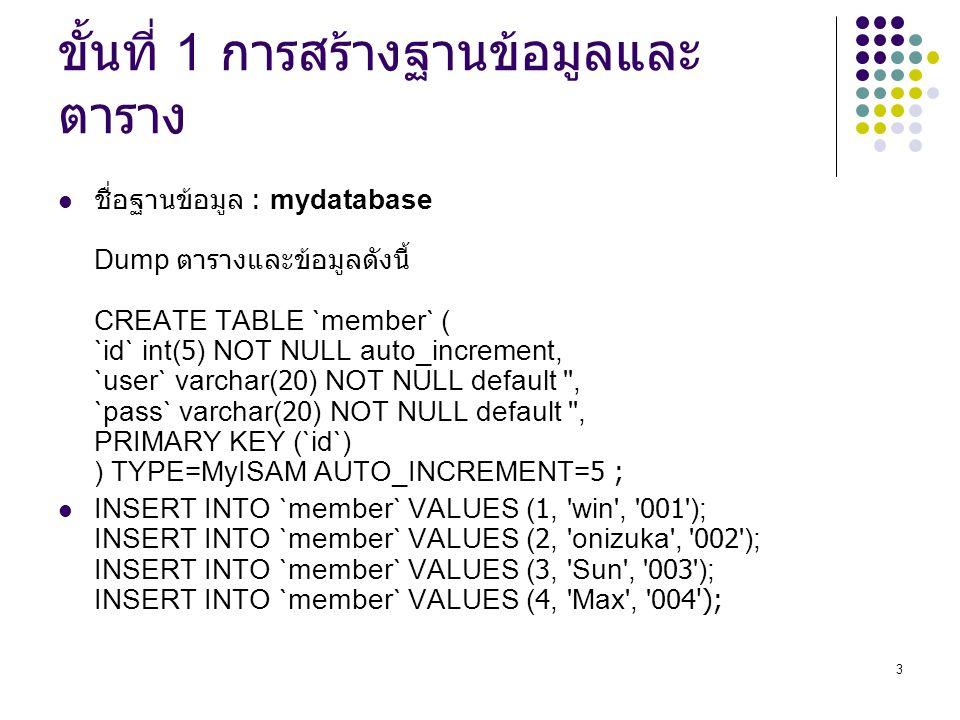 3 ขั้นที่ 1 การสร้างฐานข้อมูลและ ตาราง ชื่อฐานข้อมูล : mydatabase Dump ตารางและข้อมูลดังนี้ CREATE TABLE `member` ( `id` int(5) NOT NULL auto_incremen