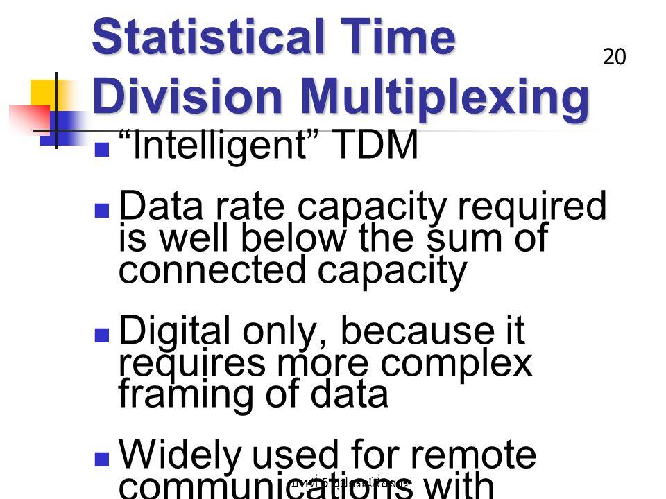 """บทที่ 6 อุปกรณ์สื่อสาร 20 Statistical Time Division Multiplexing """"Intelligent"""" TDM Data rate capacity required is well below the sum of connected capa"""