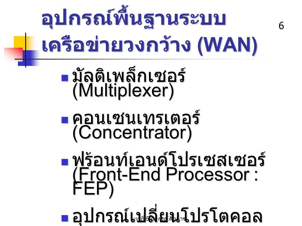 6 อุปกรณ์พื้นฐานระบบ เครือข่ายวงกว้าง (WAN) มัลติเพล็กเซอร์ (Multiplexer) มัลติเพล็กเซอร์ (Multiplexer) คอนเซนเทรเตอร์ (Concentrator) คอนเซนเทรเตอร์ (