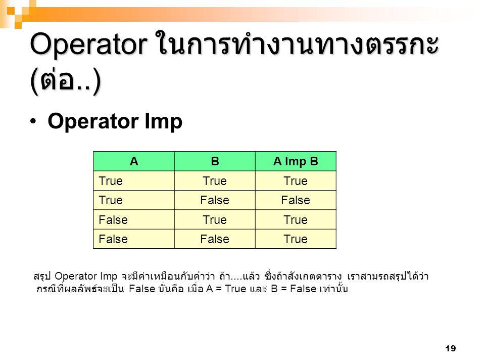 19 Operator ในการทำงานทางตรรกะ ( ต่อ..) Operator Imp ABA Imp B True False True False True สรุป Operator Imp จะมีค่าเหมือนกับคำว่า ถ้า.... แล้ว ซึ่งถ้า