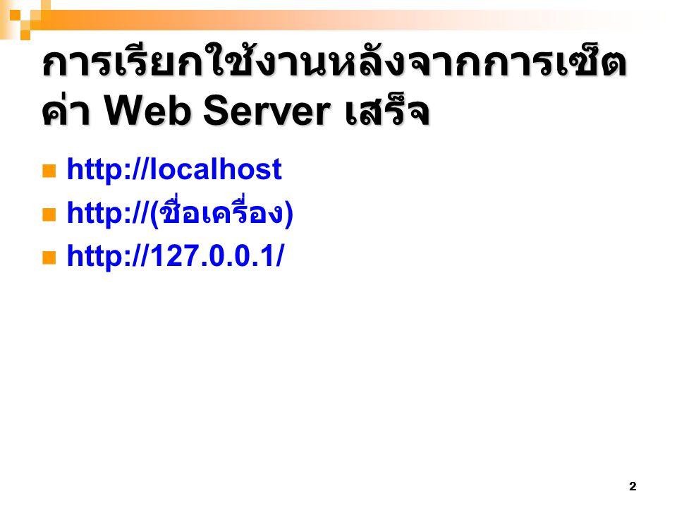 2 การเรียกใช้งานหลังจากการเซ็ต ค่า Web Server เสร็จ http://localhost http://( ชื่อเครื่อง ) http://127.0.0.1/