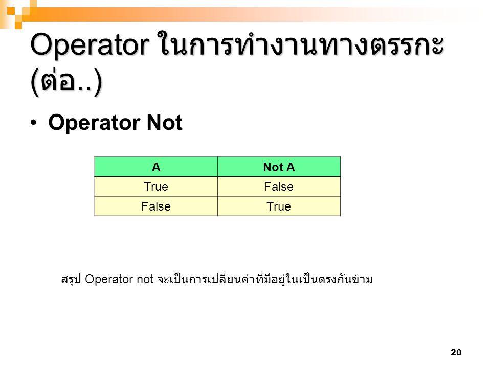 20 Operator ในการทำงานทางตรรกะ ( ต่อ..) Operator Not ANot A TrueFalse True สรุป Operator not จะเป็นการเปลี่ยนค่าที่มีอยู่ในเป็นตรงกันข้าม