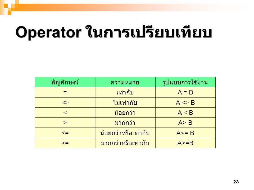 23 Operator ในการเปรียบเทียบ สัญลักษณ์ความหมายรูปแบบการใช้งาน = เท่ากับ A = B <> ไม่เท่ากับ A <> B < น้อยกว่า A < B > มากกว่า A> B <= น้อยกว่าหรือเท่า