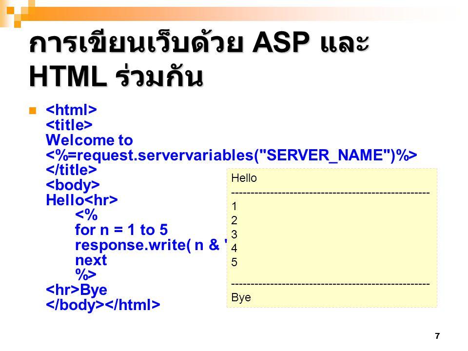 7 การเขียนเว็บด้วย ASP และ HTML ร่วมกัน Welcome to Hello
