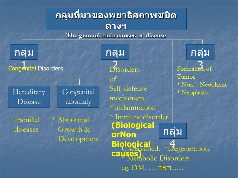 กลุ่มที่มาของพยาธิสภาพชนิด ต่างฯ The general main causes of disease กลุ่ม 1 กลุ่ม 2 กลุ่ม 3 Congenital Disorders Disorders of Self defense mechanism *