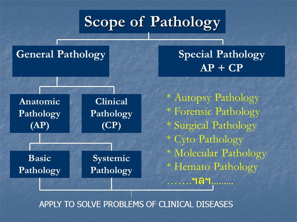 Scope of Pathology General PathologySpecial Pathology AP + CP Anatomic Pathology (AP) Clinical Pathology (CP) Basic Pathology Systemic Pathology * Aut