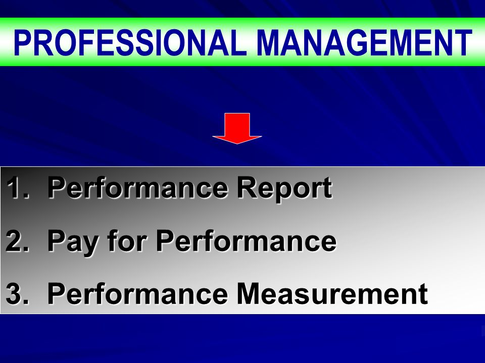PROFESSIONAL MANAGEMENT 1.Performance Report 2. Pay for Performance 3.