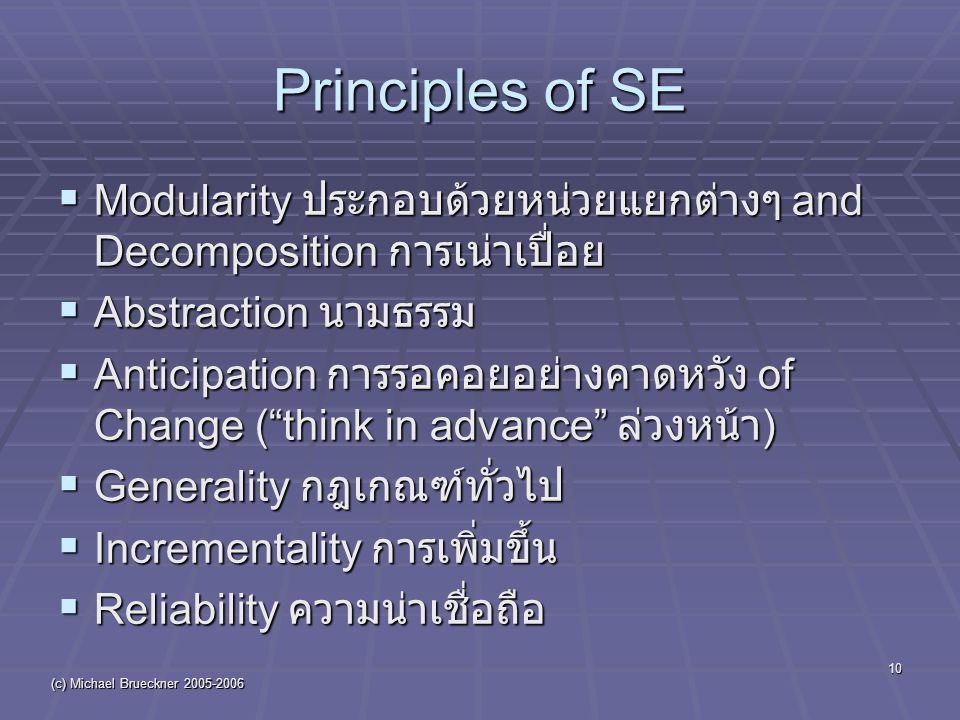 (c) Michael Brueckner 2005-2006 10 Principles of SE  Modularity ประกอบด้วยหน่วยแยกต่างๆ and Decomposition การเน่าเปื่อย  Abstraction นามธรรม  Anticipation การรอคอยอย่างคาดหวัง of Change ( think in advance ล่วงหน้า )  Generality กฎเกณฑ์ทั่วไป  Incrementality การเพิ่มขึ้น  Reliability ความน่าเชื่อถือ