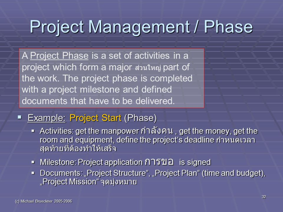 "(c) Michael Brueckner 2005-2006 32 Project Management / Phase  Example: Project Start (Phase)  Activities: get the manpower กำลังคน, get the money, get the room and equipment, define the project's deadline กำหนดเวลา สุดท้ายที่ต้องทำให้เสร็จ  Milestone: Project application การขอ is signed  Documents: ""Project Structure , ""Project Plan (time and budget), ""Project Mission จุดมุ่งหมาย A Project Phase is a set of activities in a project which form a major ส่วนใหญ่ part of the work."