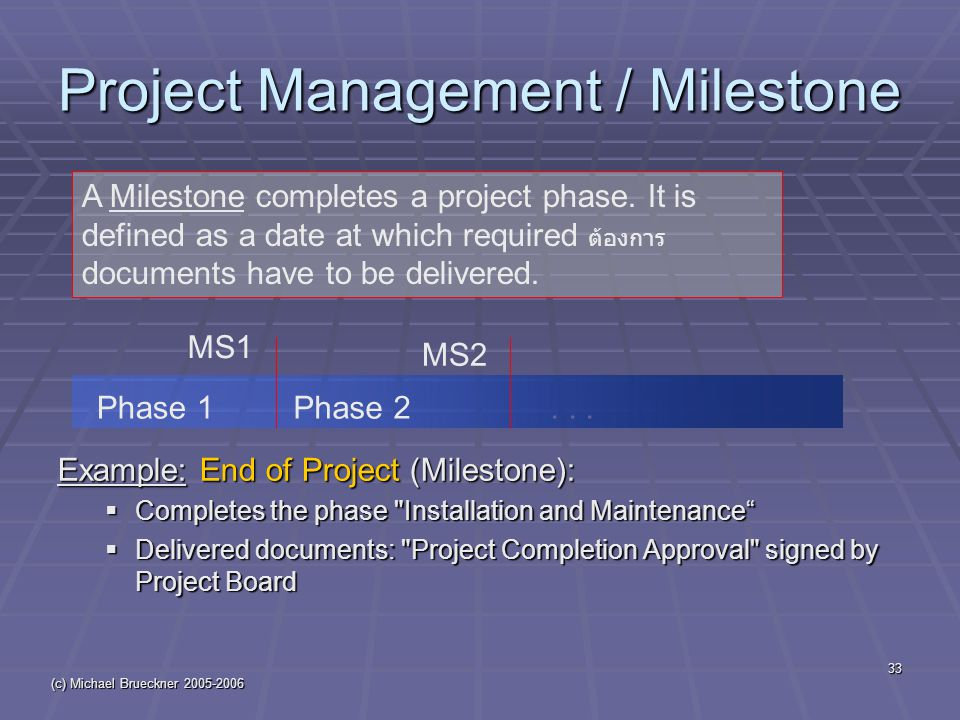 (c) Michael Brueckner 2005-2006 33 Project Management / Milestone Example: End of Project (Milestone):  Completes the phase Installation and Maintenance  Delivered documents: Project Completion Approval signed by Project Board A Milestone completes a project phase.