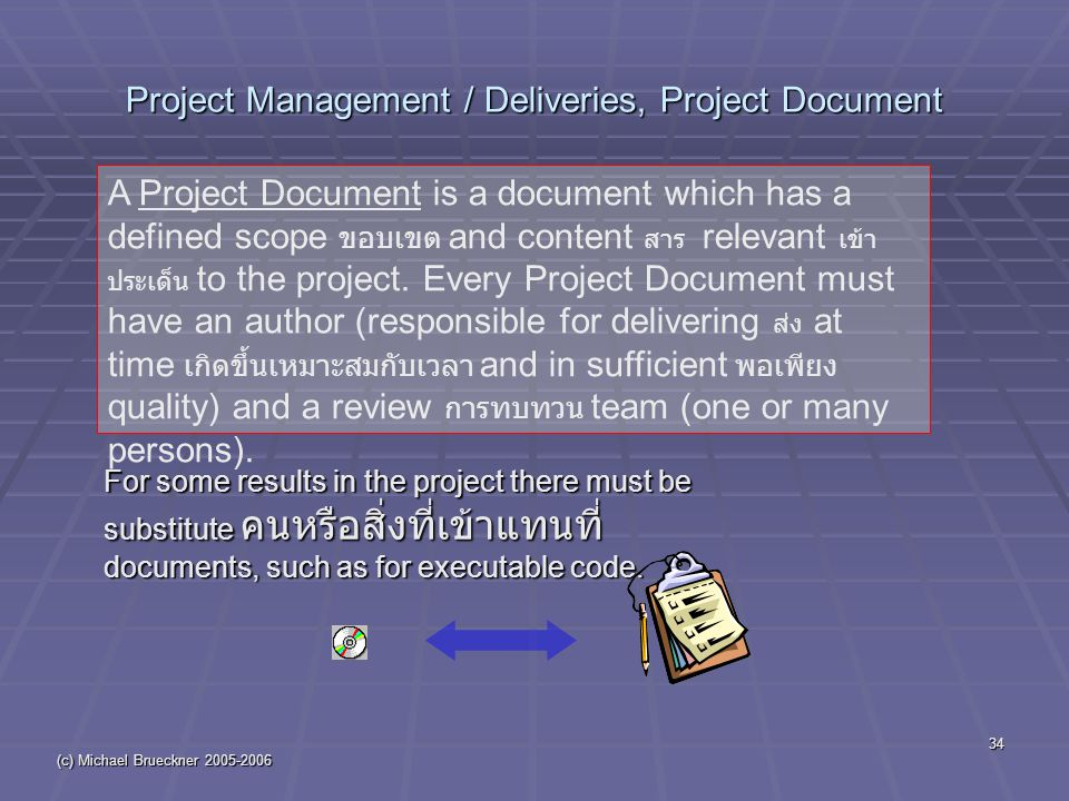 (c) Michael Brueckner 2005-2006 34 Project Management / Deliveries, Project Document For some results in the project there must be substitute คนหรือสิ่งที่เข้าแทนที่ documents, such as for executable code.
