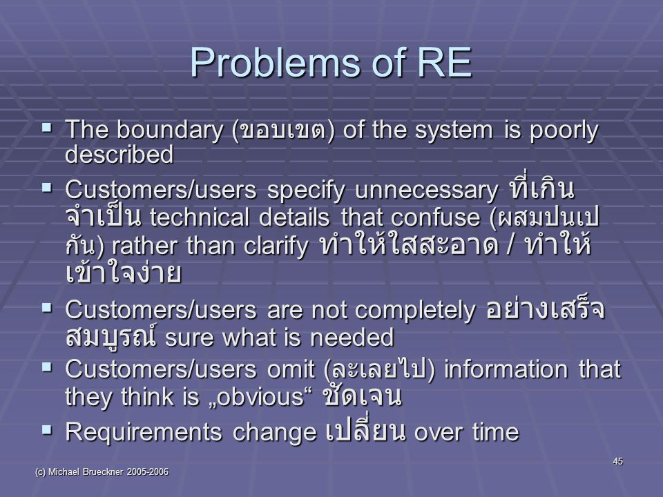 "(c) Michael Brueckner 2005-2006 45 Problems of RE  The boundary ( ขอบเขต ) of the system is poorly described  Customers/users specify unnecessary ที่เกิน จำเป็น technical details that confuse ( ผสมปนเป กัน ) rather than clarify ทำให้ใสสะอาด / ทำให้ เข้าใจง่าย  Customers/users are not completely อย่างเสร็จ สมบูรณ์ sure what is needed  Customers/users omit ( ละเลยไป ) information that they think is ""obvious ชัดเจน  Requirements change เปลี่ยน over time"
