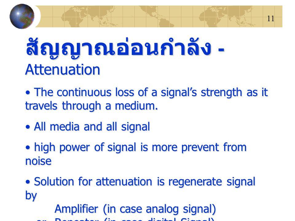 11 สัญญาณอ่อนกำลัง - Attenuation The continuous loss of a signal's strength as it travels through a medium. The continuous loss of a signal's strength