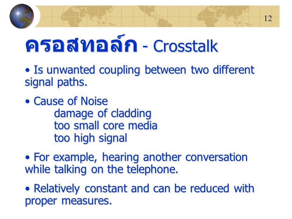 12 ครอสทอล์ก - Crosstalk Is unwanted coupling between two different signal paths. Is unwanted coupling between two different signal paths. Cause of No