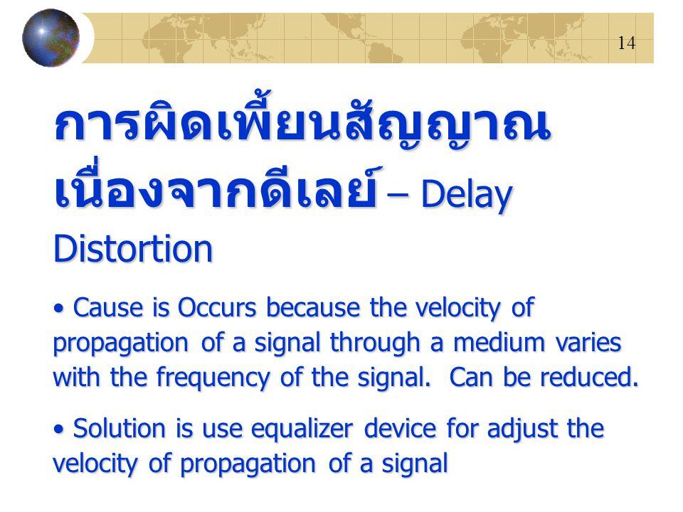 14 การผิดเพี้ยนสัญญาณ เนื่องจากดีเลย์ – Delay Distortion Cause is Occurs because the velocity of propagation of a signal through a medium varies with the frequency of the signal.