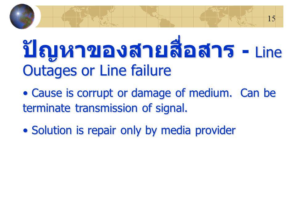 15 ปัญหาของสายสื่อสาร Line Outages or Line failure ปัญหาของสายสื่อสาร - Line Outages or Line failure Cause is corrupt or damage of medium. Can be term