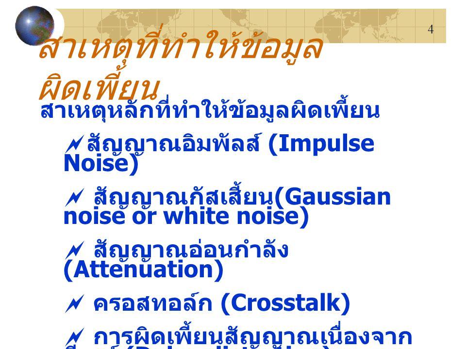 4 สาเหตุที่ทำให้ข้อมูล ผิดเพี้ยน สาเหตุหลักที่ทำให้ข้อมูลผิดเพี้ยน  สัญญาณอิมพัลส์ (Impulse Noise)  สัญญาณกัสเสี้ยน (Gaussian noise or white noise)  สัญญาณอ่อนกำลัง (Attenuation)  ครอสทอล์ก (Crosstalk)  การผิดเพี้ยนสัญญาณเนื่องจาก ดีเลย์ (Delay distortion)  ปัญหาของสายสื่อสาร (Line Outages or line failure)