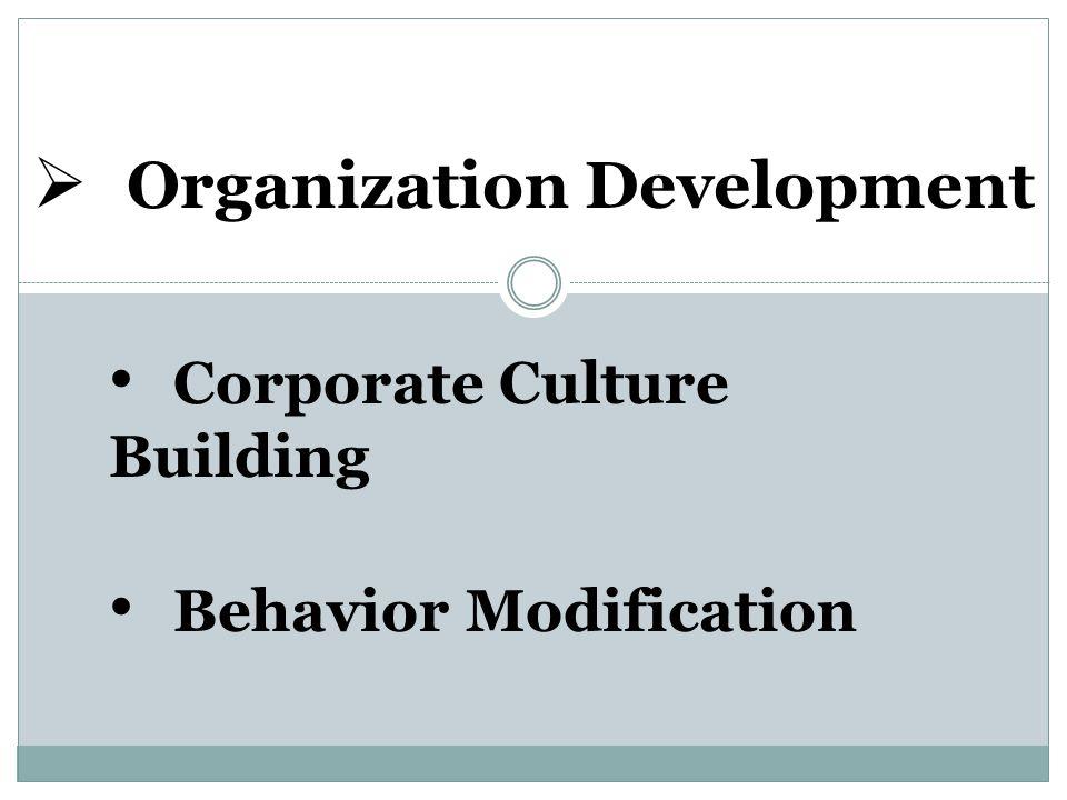  Organization Development Corporate Culture Building Behavior Modification