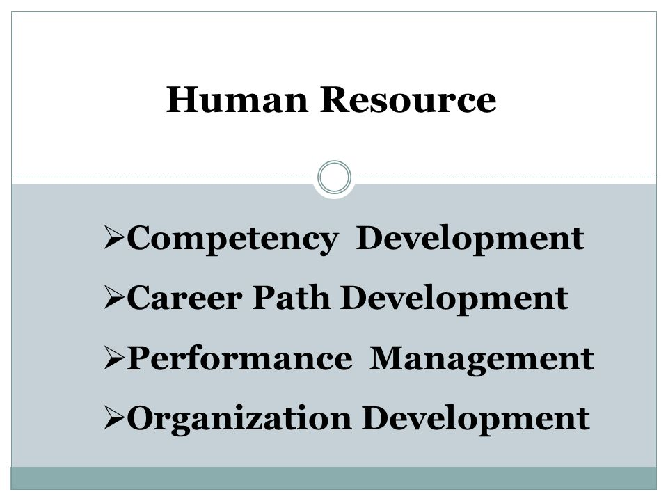 Human Resource  Competency Development  Career Path Development  Performance Management  Organization Development