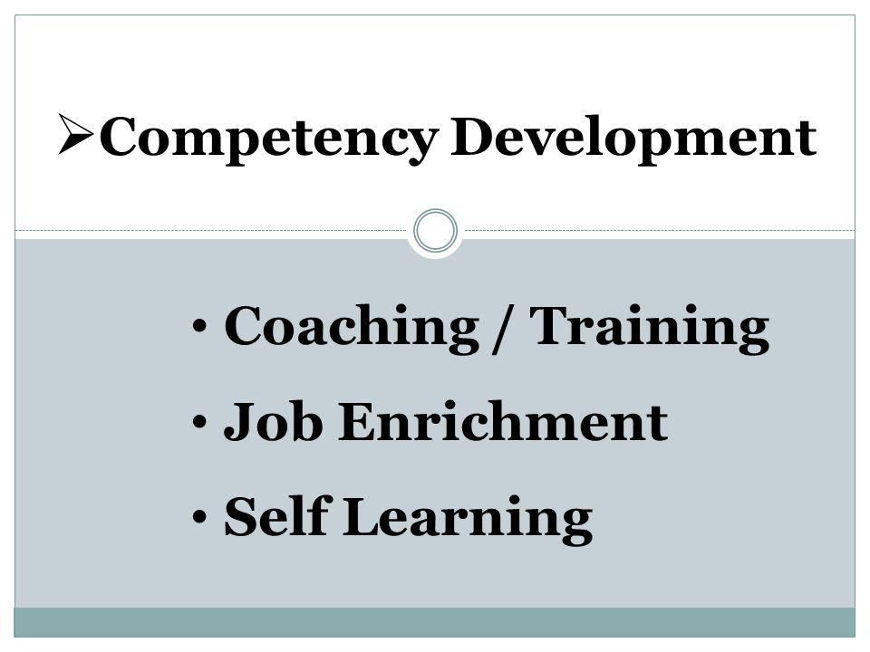  Competency Development Coaching / Training Job Enrichment Self Learning