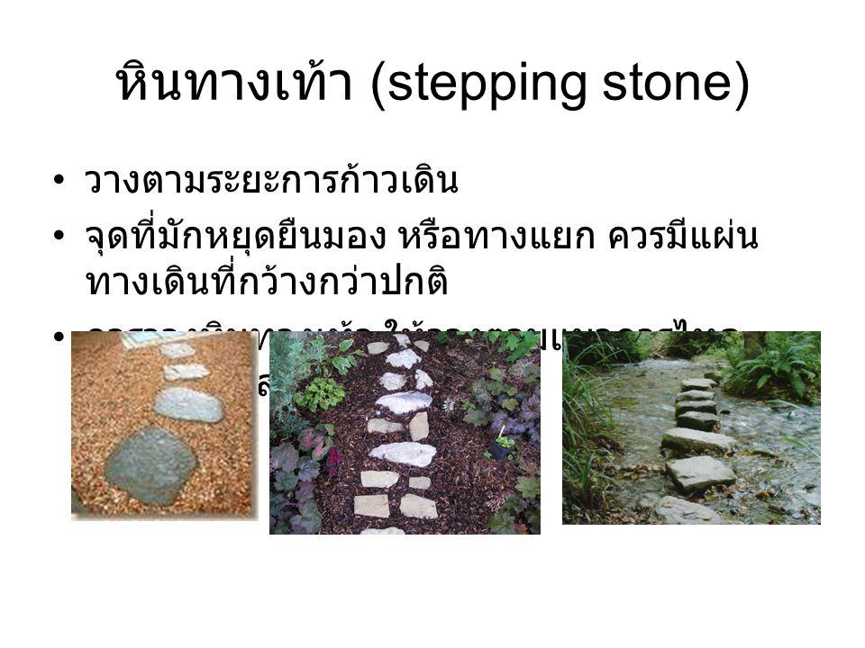 หินทางเท้า (stepping stone) วางตามระยะการก้าวเดิน จุดที่มักหยุดยืนมอง หรือทางแยก ควรมีแผ่น ทางเดินที่กว้างกว่าปกติ การวางหินทางเท้า ให้วางตามแนวการไหล