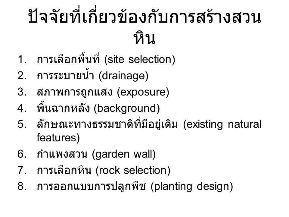 ปัจจัยที่เกี่ยวข้องกับการสร้างสวน หิน 1. การเลือกพื้นที่ (site selection) 2. การระบายน้ำ (drainage) 3. สภาพการถูกแสง (exposure) 4. พื้นฉากหลัง (backgr